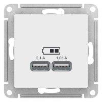 Schneider Electric AtlasDesign Белый Розетка USB 5В 1 порт x 2,1A 2 порта х 1,05A механизм купить в интернет-магазине Азбука Сантехники