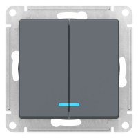 Schneider Electric AtlasDesign Грифель Выключатель 2-клавишный с подсветкой сх.5A 10AX механизм купить в интернет-магазине Азбука Сантехники