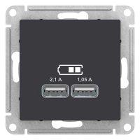 Schneider Electric AtlasDesign Карбон Розетка USB 5В 1 порт x 2,1A 2 порта х 1,05A механизм купить в интернет-магазине Азбука Сантехники