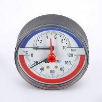 """Термоманометр радиальный Watts F+R828 (TMRP) 80 мм, 10 бар (Ø 1/2"""", 120 °C) купить в интернет-магазине Азбука Сантехники"""