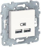Schneider Electric Unica New Белый Розетка USB 2-местная 5 В 2,1 A купить в интернет-магазине Азбука Сантехники