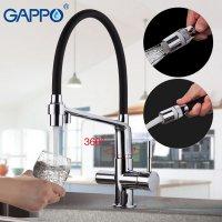 Смеситель для кухни Gappo G4398-7 с подключением фильтра для питьевой воды, черный/хром купить в интернет-магазине Азбука Сантехники