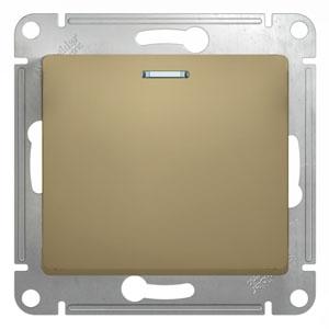 Schneider Electric Glossa Титан Переключатель 1-клавишный с подсветкой 10A (схема 6A) купить в интернет-магазине Азбука Сантехники