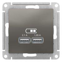 Schneider Electric AtlasDesign Сталь Розетка USB 5В 1 порт x 2,1A 2 порта х 1,05A механизм купить в интернет-магазине Азбука Сантехники