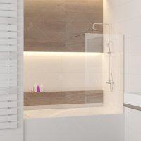 Шторка на ванну RGW Screens SC-51, 800 × 1500 мм, с прозрачным стеклом, профиль — хром купить в интернет-магазине Азбука Сантехники