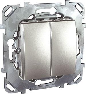 Schneider Electric Unica Top Алюминий Переключатель 2-клавишный (схема 6+6) купить в интернет-магазине Азбука Сантехники