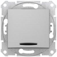 Schneider Electric Sedna Алюминий Выключатель 1-клавишный кнопочный с подсветкой 10A купить в интернет-магазине Азбука Сантехники
