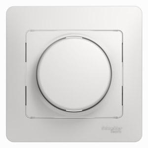 Schneider Electric Glossa Белый Светорегулятор (диммер) поворотно-нажимной 600 Вт купить в интернет-магазине Азбука Сантехники