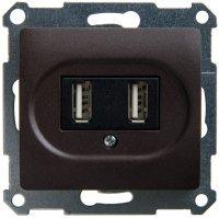 Schneider Electric Glossa Шоколад Розетка USB 5В /1400 мА 2 х 5В /700 мА механизм купить в интернет-магазине Азбука Сантехники