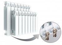 Радиатор биметаллический Rifar Monolit Ventil 500, нижнее правое подключение, 10 секций