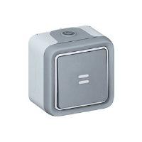 Legrand Plexo Серый Выключатель кнопочный с подсветкой накладной НО-контакт 10A в сборе IP55 купить в интернет-магазине Азбука Сантехники