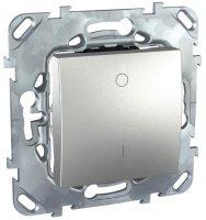 Schneider Electric Unica Top Алюминий Выключатель 1-клавишный 2-полюсный 16A (схема 1) купить в интернет-магазине Азбука Сантехники