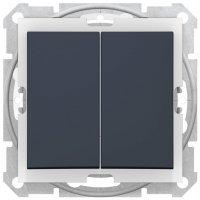 Schneider Electric Sedna Графит Выключатель 2-клавишный 10A IP44 купить в интернет-магазине Азбука Сантехники