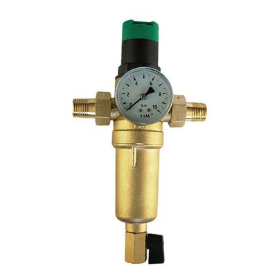 """Фильтр промывной TIM с манометром и редуктором давления Ø 3/4"""" НН, металлический корпус"""