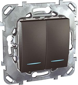 Schneider Electric Unica Top Графит Переключатель 2-клавишный (схема 6+6) с подсветкой купить в интернет-магазине Азбука Сантехники
