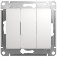 Schneider Electric Glossa Белый Выключатель 3-клавишный 10A (схема 3) купить в интернет-магазине Азбука Сантехники