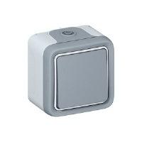 Legrand Plexo Серый Переключатель 1-клавишный на 2 направления накладной 10A в сборе IP55 купить в интернет-магазине Азбука Сантехники