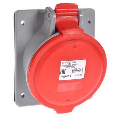 Legrand P17 Tempra Pro Розетка встраиваемая наклонная 3P+PE 32A 380-415V IP44 купить в интернет-магазине Азбука Сантехники