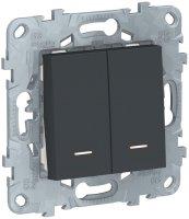 Schneider Electric Unica New Антрацит Выключатель 2-клавишный 2 модуля с подсветкой 2 х сх.1A купить в интернет-магазине Азбука Сантехники