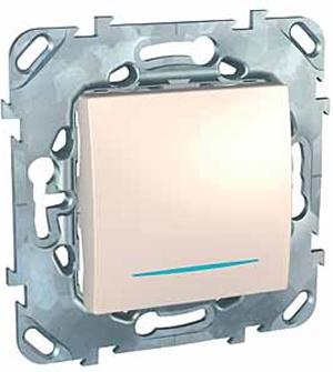Schneider Electric Unica Бежевый Переключатель 1-клавишный (схема 6) с подсветкой купить в интернет-магазине Азбука Сантехники