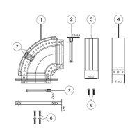 Отвод 90° с фланцем Protherm Ø 60/100 мм для коаксиального дымохода, для котлов ЯГУАР купить в интернет-магазине Азбука Сантехники