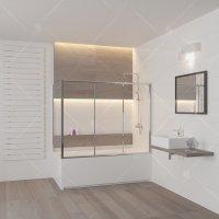 Шторка на ванну RGW Screens SC-81, (1500 × 750) × 1500 мм, с прозрачным стеклом, профиль — хром купить в интернет-магазине Азбука Сантехники