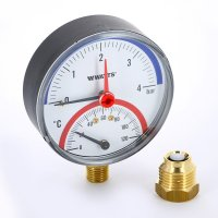 """Термоманометр радиальный Watts F+R828 (TMRP) 80 мм, 4 бар (Ø 1/2"""", 120 °C) купить в интернет-магазине Азбука Сантехники"""