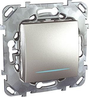 Schneider Electric Unica Top Алюминий Переключатель перекрестный 1-клавишный (схема 7) с подсветкой купить в интернет-магазине Азбука Сантехники