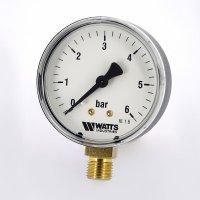 Манометр Watts радиальный (0–6 бар), корпус — Ø 63 мм