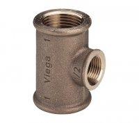 """Тройник Viega Ø 1"""" × 1/2"""" × 1"""" бронзовый, модель 3130 (362 515) купить в интернет-магазине Азбука Сантехники"""