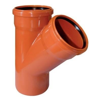 Тройник ПВХ Ø 200 × 200 мм × 45° для наружной канализации купить в интернет-магазине Азбука Сантехники