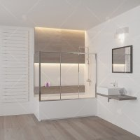 Шторка на ванну RGW Screens SC-81, (1800 × 800) × 1500 мм, стекло шиншилла, профиль — хром купить в интернет-магазине Азбука Сантехники