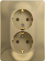 Schneider Electric Glossa Титан Розетка 2-я с/з в сборе с рамкой купить в интернет-магазине Азбука Сантехники