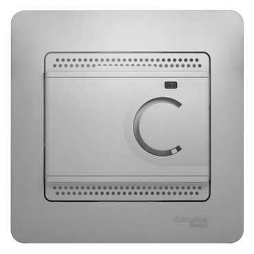 Schneider Electric Glossa Алюминий Термостат электронный теплого пола с датчиком 10A купить в интернет-магазине Азбука Сантехники
