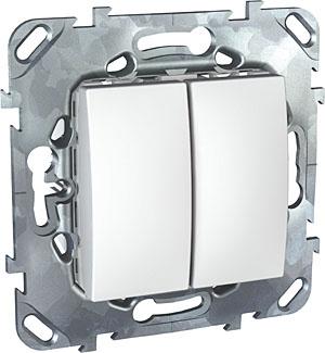 Schneider Electric Unica Белый Переключатель 2-клавишный (схема 6+6) купить в интернет-магазине Азбука Сантехники