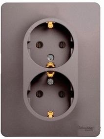 Schneider Electric Glossa Платина Розетка двойная с/з 16A 250В в сборе купить в интернет-магазине Азбука Сантехники