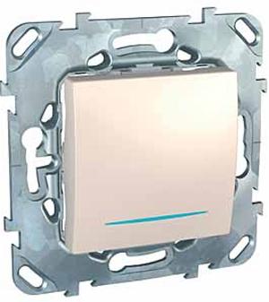 Schneider Electric Unica Бежевый Переключатель перекрестный 1-клавишный (схема 7) с подсветкой купить в интернет-магазине Азбука Сантехники