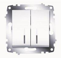 ABB Cosmo Белый Выключатель 2-клавишный с подсветкой