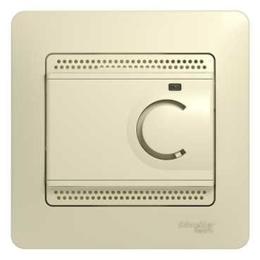 Schneider Electric Glossa Бежевый Термостат электронный теплого пола с датчиком 10A купить в интернет-магазине Азбука Сантехники
