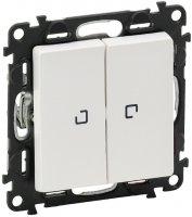 Legrand Valena Life Белый Выключатель 2-клавишный на 2 направления с подсветкой 10A купить в интернет-магазине Азбука Сантехники