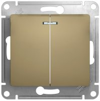 Schneider Electric Glossa Титан Выключатель 2-клавишный с подсветкой 10A (схема 5A) купить в интернет-магазине Азбука Сантехники