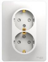 Schneider Electric Glossa Белый Розетка 2-я с/з с защитными шторками в сборе с рамкой купить в интернет-магазине Азбука Сантехники