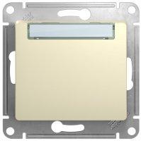 Schneider Electric Glossa Бежевый Выключатель кнопочный с табличкой 10A (схема 1) купить в интернет-магазине Азбука Сантехники