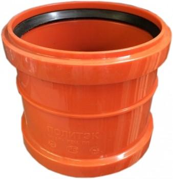 Муфта ПВХ двухраструбная Ø 200 мм для наружной канализации купить в интернет-магазине Азбука Сантехники