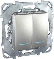 Schneider Electric Unica Top Алюминий Выключатель 2-клавишный (схема 5) с подсветкой купить в интернет-магазине Азбука Сантехники
