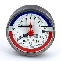 """Термоманометр аксиальный Watts F+R818 (TMAP) 80 мм, 6 бар (Ø 1/2"""", 120 °C) купить в интернет-магазине Азбука Сантехники"""