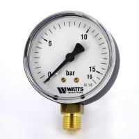 Манометр Watts радиальный (0–16 бар), корпус — Ø 50 мм