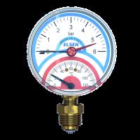 """Термоманометр ELSEN, Ø 80, 1/2"""", ВР, радиальный, от 0 до + 120 °C, PN, 0-6 бар купить в интернет-магазине Азбука Сантехники"""