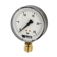 Манометр Watts радиальный (0–25 бар), корпус — Ø 100 мм