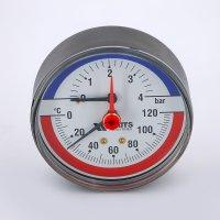 """Термоманометр аксиальный Watts F+R818 (TMAP) 80 мм, 4 бар (Ø 1/2"""", 120 °C) купить в интернет-магазине Азбука Сантехники"""